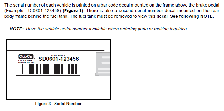 Club Car Serial Number Location