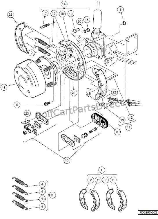 brakes – rear brake assembly, manually – adjusted – turf/carryall 2, 252