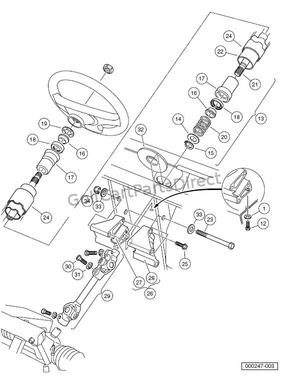 STEERING COLUMN – TURF/CARRYALL 2 XRT AND TURF/CARRYALL 252 VEHICLES