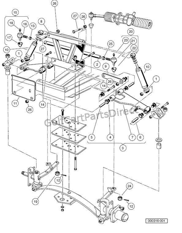 diagram 1991 club car gas parts club car suspension parts diagram front suspension, upper- carryall 2 plus and turf/carryall ...
