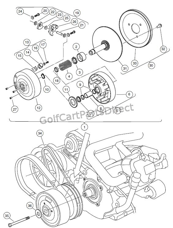 drive clutch – turf/carryall 1, 2, 2xrt,