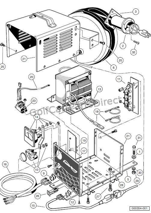 club car wiring diagram 48 volt dc receptacle onboard powerdrive battery crager (model17935), domestic ... ej8 4001a club car wiring diagram 48 volt #12