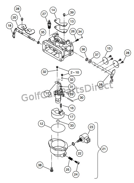 carburetor assembly  kawasaki gasoline vehicles