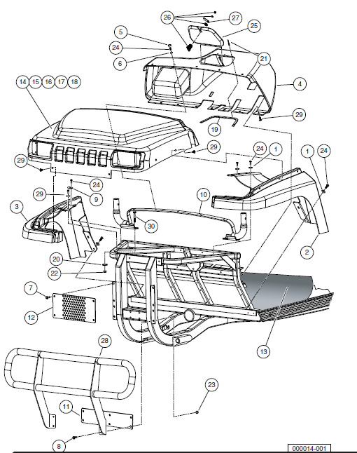 Front Body Trim, Gasoline Vehicles