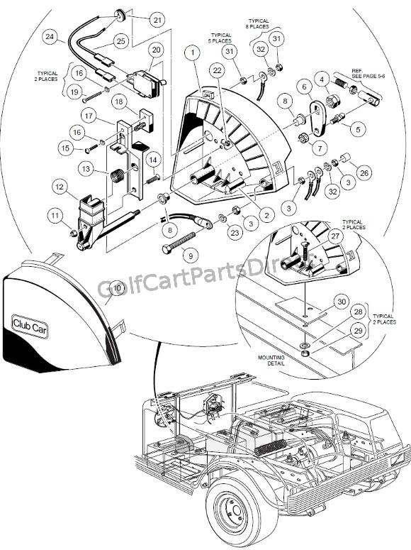 1998 1999 club car ds gas or electric golfcartpartsdirect Club Car 36 Volt Battery Wiring Diagram