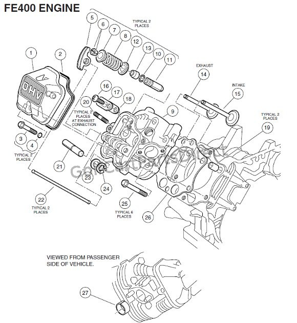 ENGINE, FE400 (KEY-START) - CYLINDER HEAD