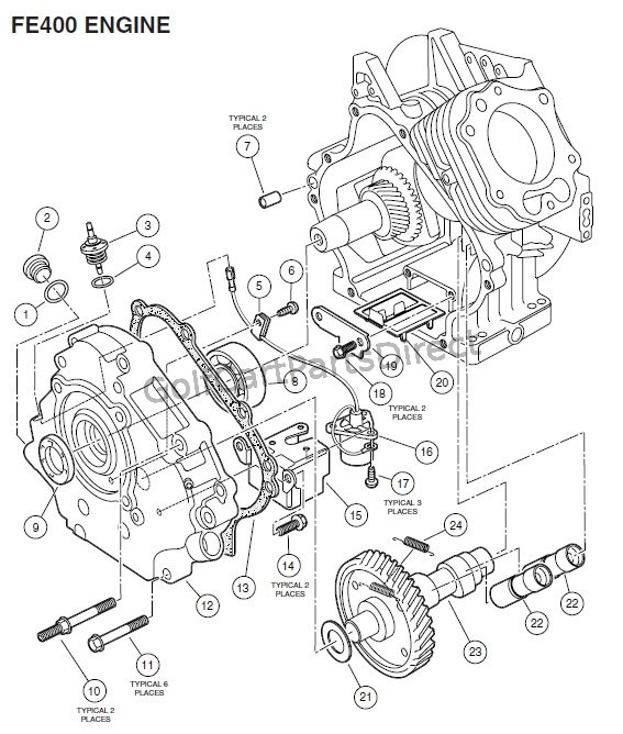 ENGINE, FE400 (KEY-START) - CRANKCASE, CAMSHAFT AND OIL SENSOR