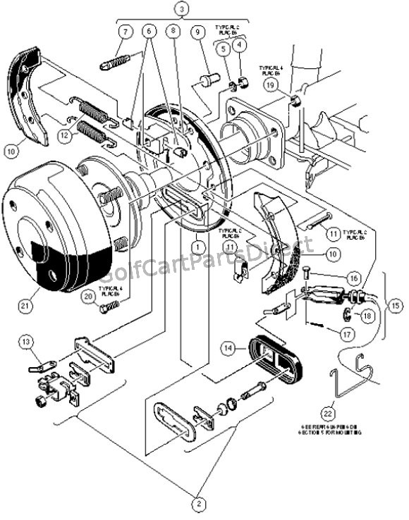 REAR BRAKE ASSEMBLY, MANUALLY ADJUSTED - CARRYALL II, II PLUS, AND VI