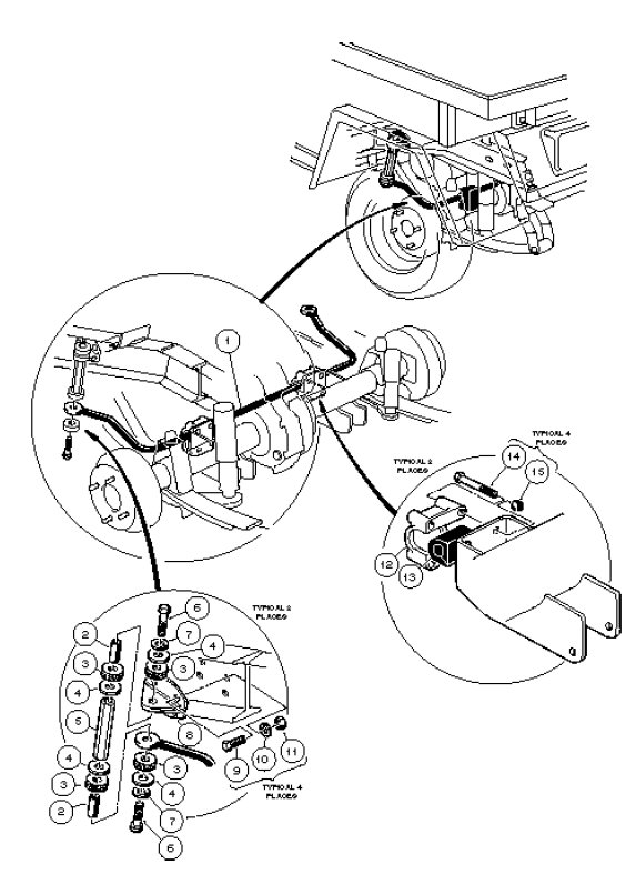 STABILIZER BAR, GASOLINE VEHICLE - CARRYALL II, II PLUS AND VI