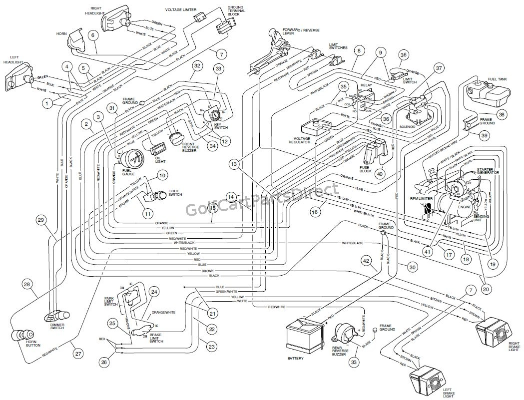 wiring, gasoline vehicle carryall vi golfcartpartsdirect Club Car Manual Wire Diagrams