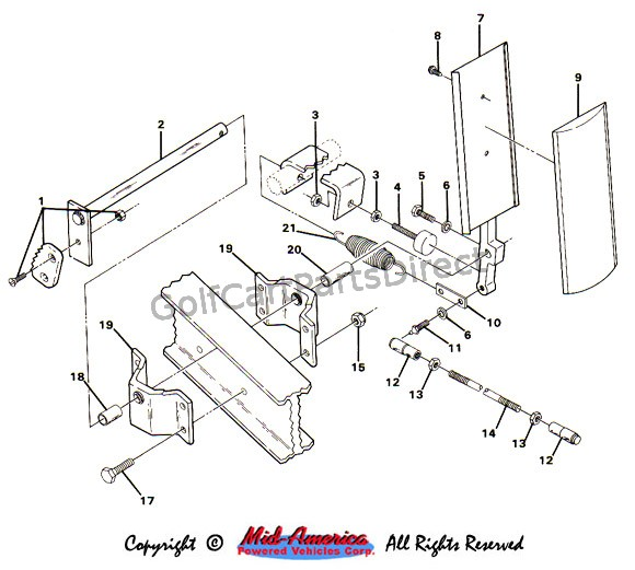 club car brake parts diagram