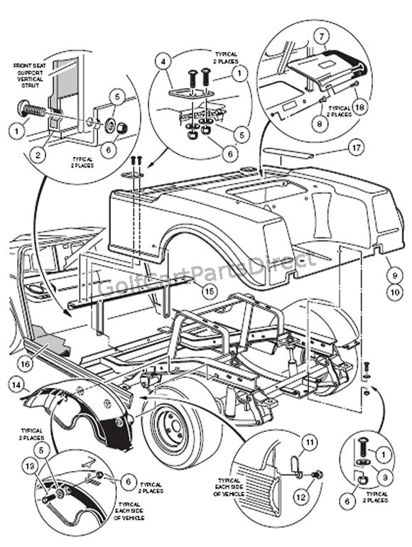 2000 2005 club car ds gas or electric golfcartpartsdirect Club Car 36V Batteries Diagram