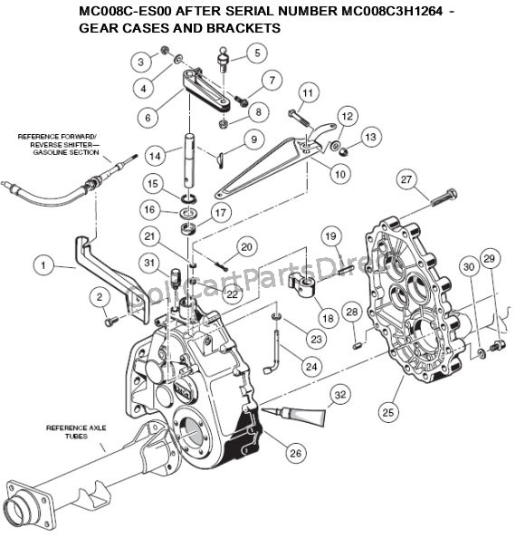 2000-2005 club car ds gas or electric - golfcartpartsdirect 1987 club car 36v wiring diagram club car rear differential diagram #10