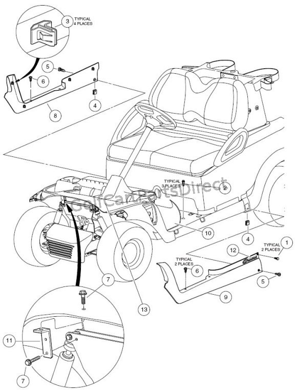 Floormat, Retainer, and Front Underbody - Style B