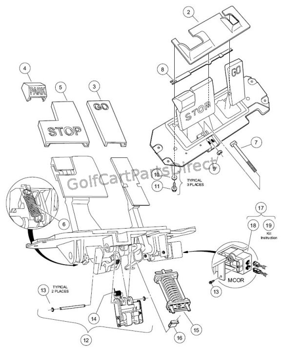 2004 2007 club car precedent gas or electric golfcartpartsdirect Electric Club Car Wiring Diagram pedal group components electric