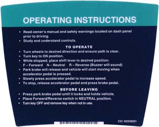 N-14287 - DECAL, OPERATING INSTRUCTIONS