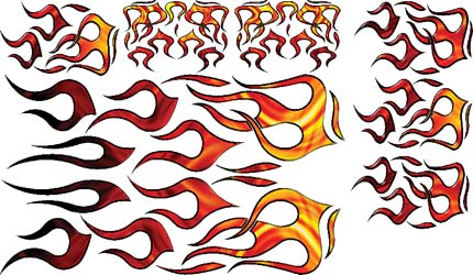 N-6633 - GRAPHICS, FLAMES, RED/YELLOW