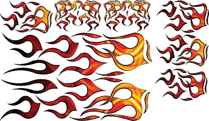 N-6634 - GRAPHICS, FLAMES, ORANGE/YELLOW